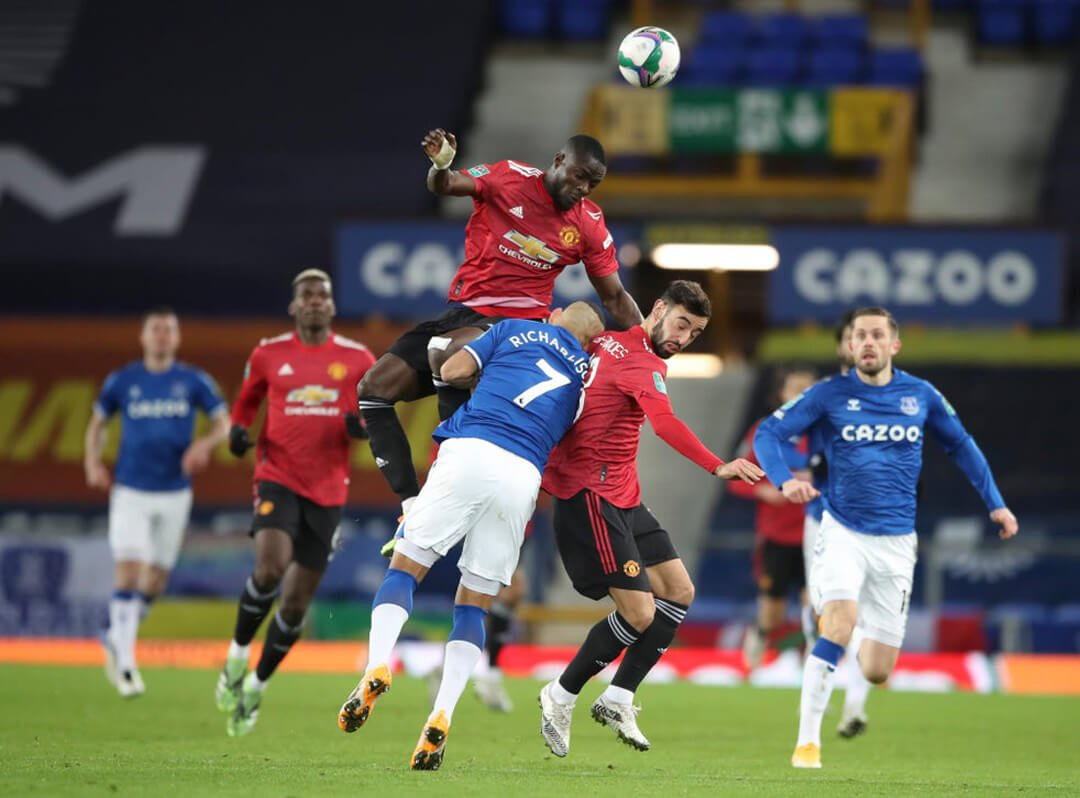 Eric Bailly and Bruno Fernandes against Everton
