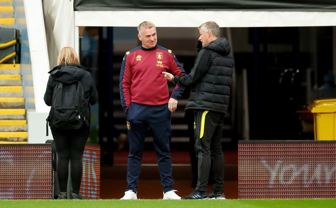 Ole Gunnar Solskjaer and Dean Smith chatting