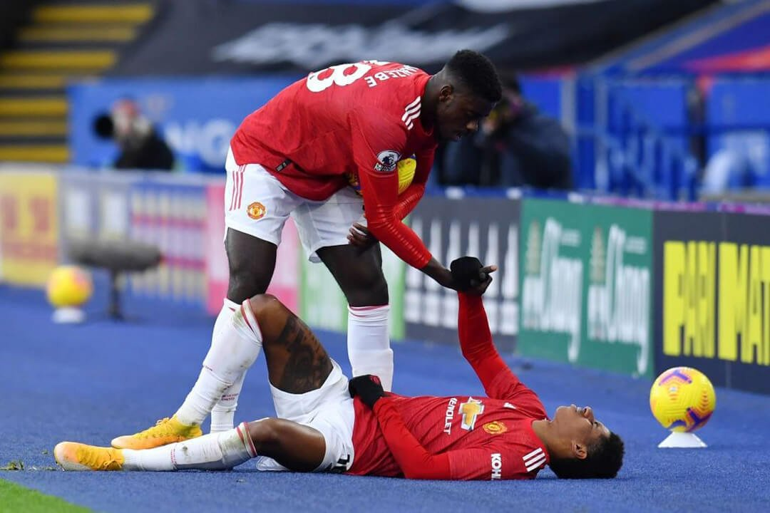 Rashford Injury vs Leicester City