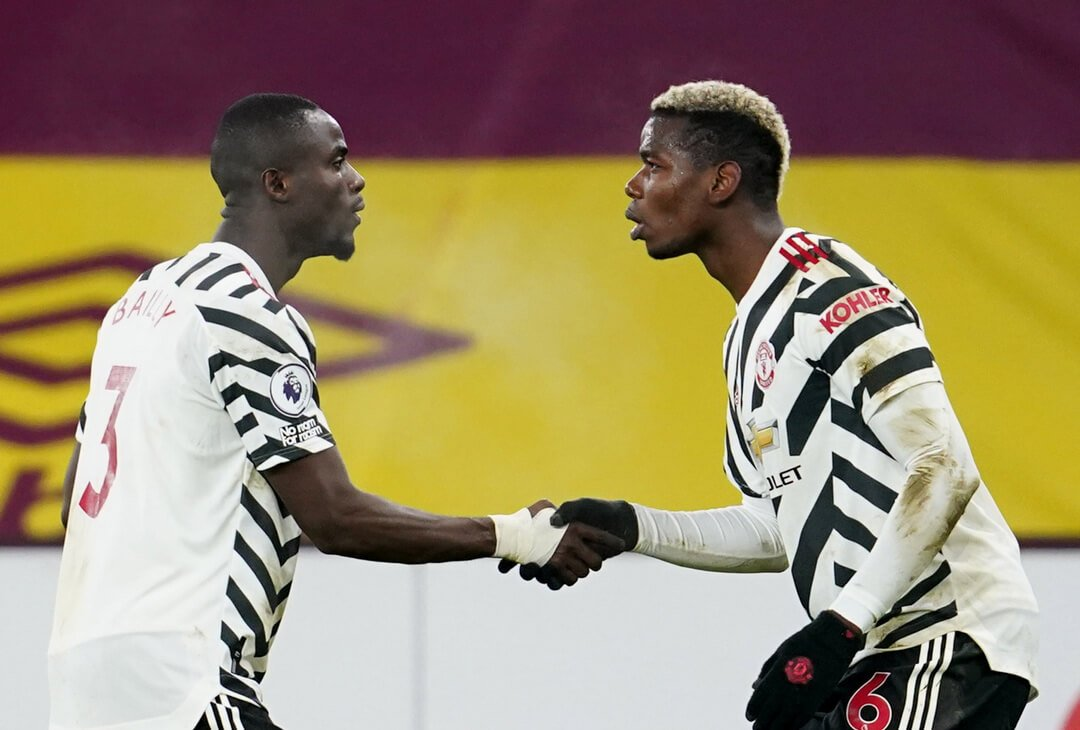 Eric Bailly and Paul Pogba celebrate goal against Burnley