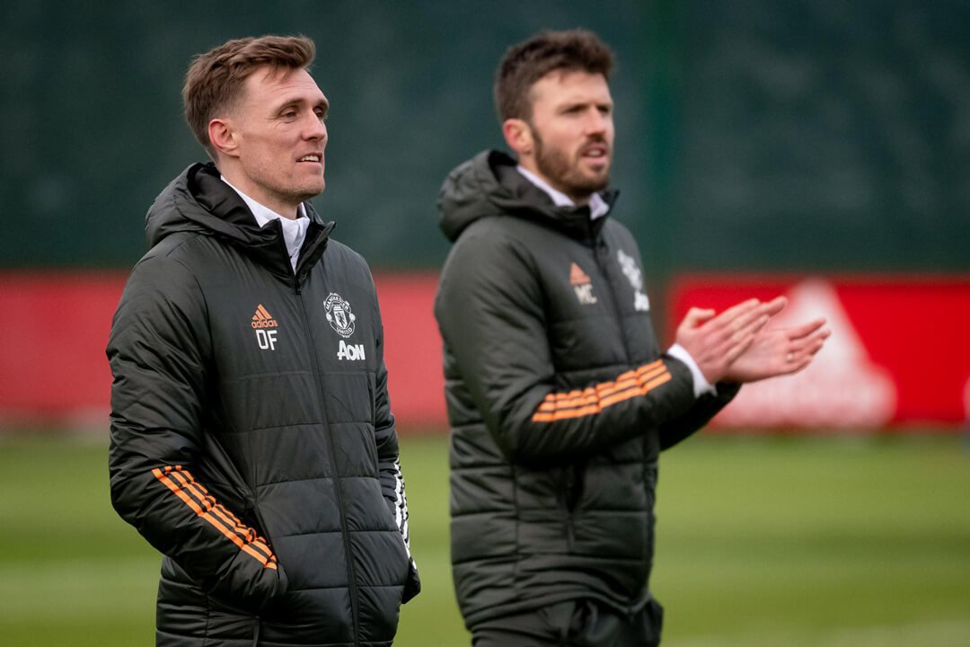 Michael Carrick and Darren Fletcher in training